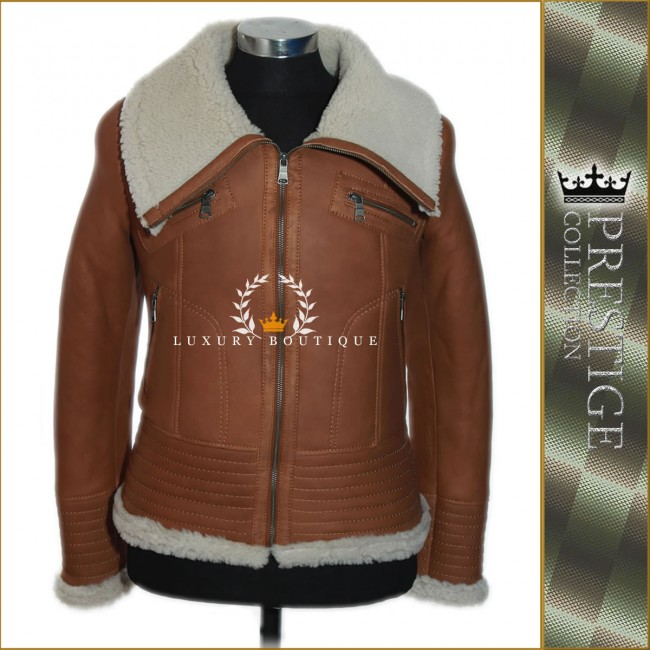 94f6e99af Men's Prestige Wolf Tan Shearling Sheepskin Winter Biker Leather ...