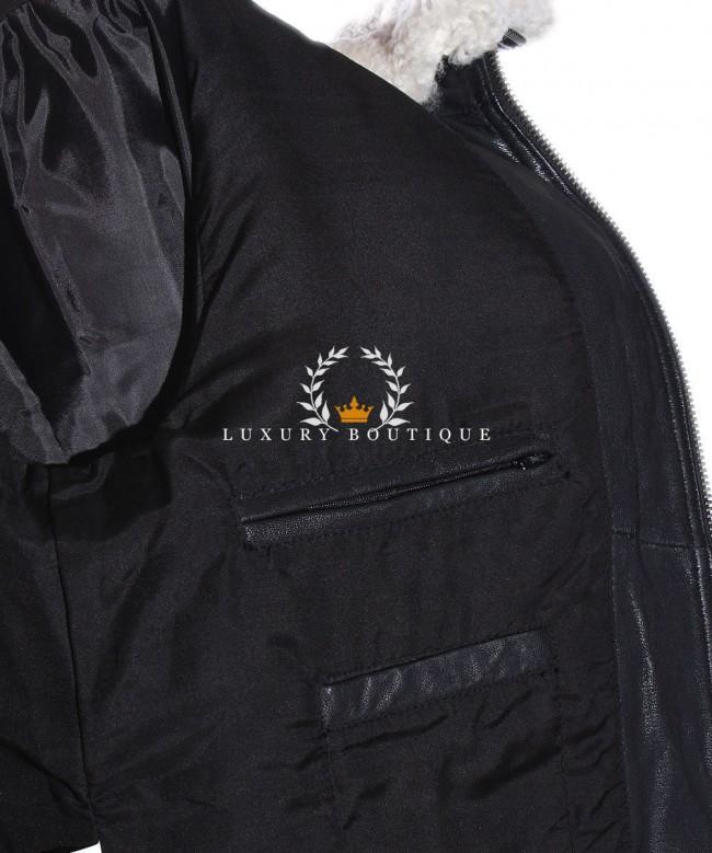 Mens Brayden Black Aviator Bomber Fur Collar Leather ...